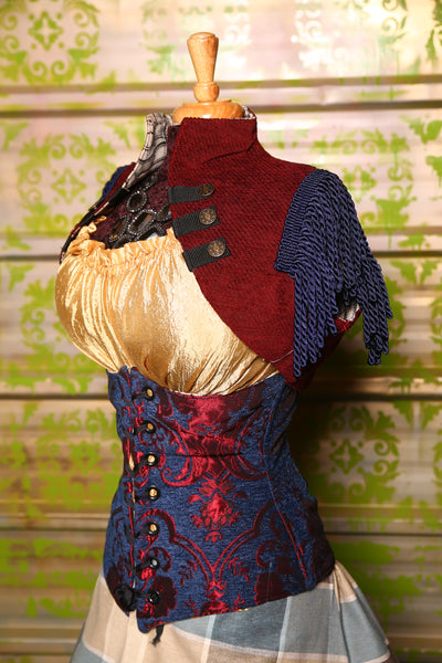 Sgt. Pepper Vest in Blood Red with Navy Blue Trim