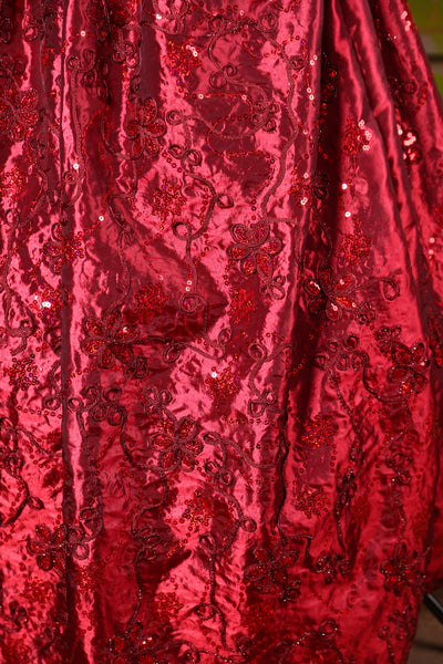 Tulip Skirt in Crimson Sequin Glamour