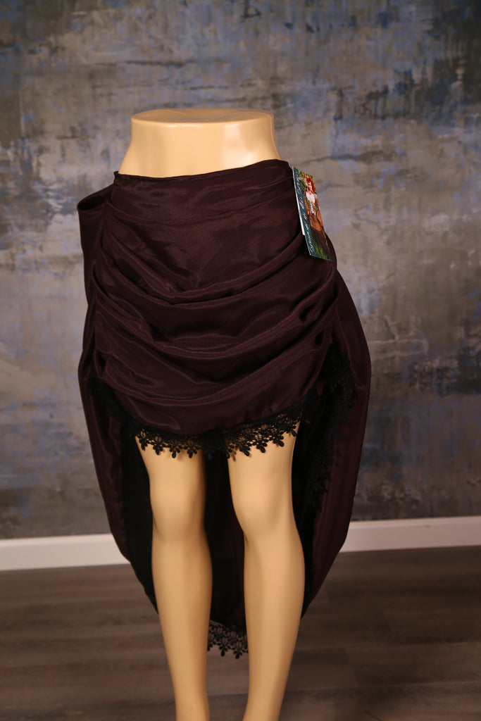 Mini Swoon Skirt in Pecan Crepe Satin with Black Lace