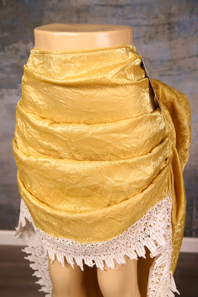 Mini Swoon Skirt in Buttery Gold Crushed Satin