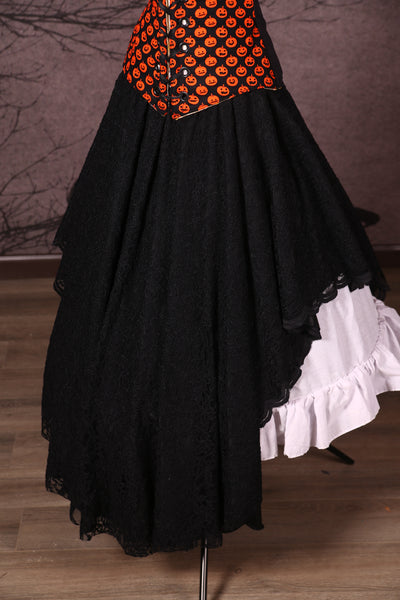 Crescent Skirt with Lace Overlay Black