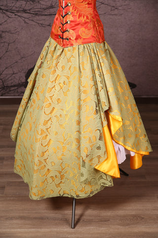 Crescent Skirt with Lace Overlay Gold & Gourd Green