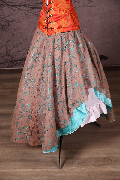 Crescent Skirt with Lace Overlay Cloudy Day