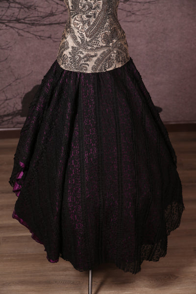 Crescent Skirt with Lace Overlay Purple Pintuck & Black