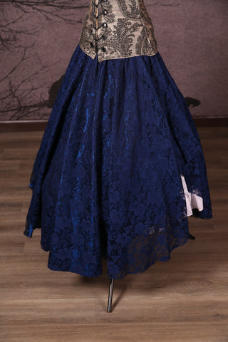 Crescent Skirt with Lace Overlay Navy