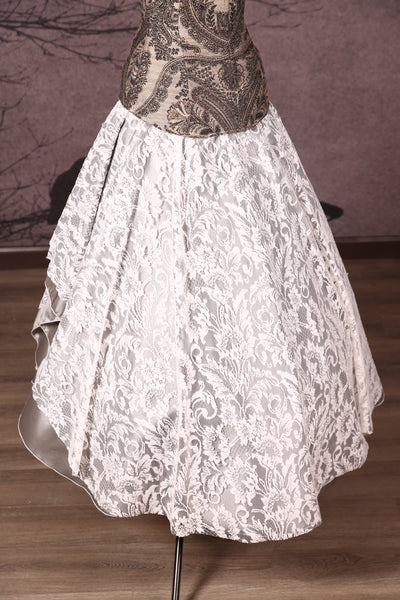Crescent Skirt with Lace Silver