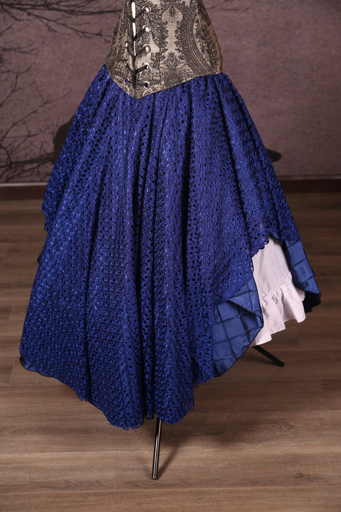 Crescent Skirt with Lace Overlay Royal Blue