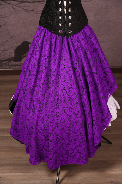 Crescent Skirt with Lace Overlay Black & Purple