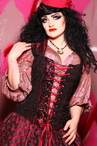 Aurora X Corset in Crimson and Black Medallion