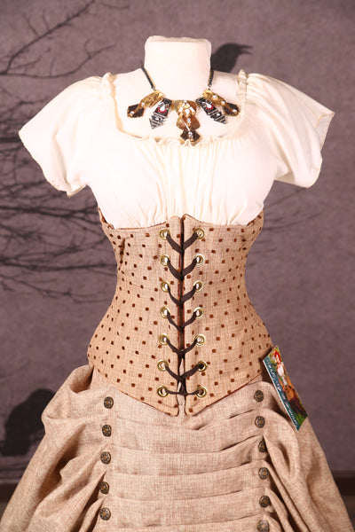 Wench Corset in Oak Square Dot