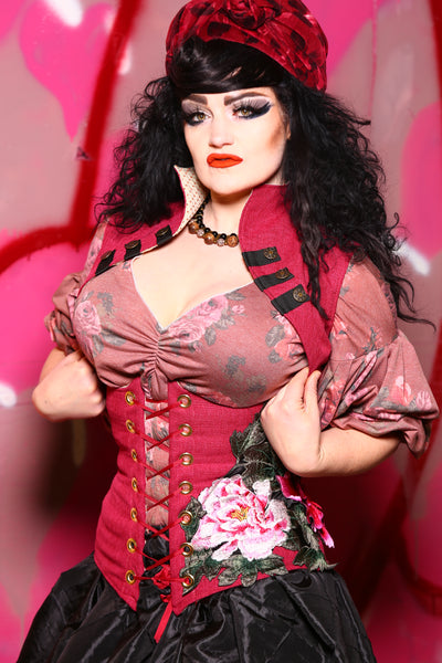 Wench Corset in Raspberry with Floral Applique