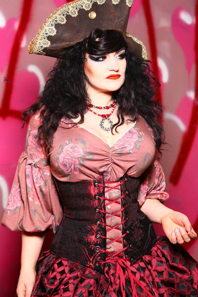 Wench Corset in Crimson and Black Medallion