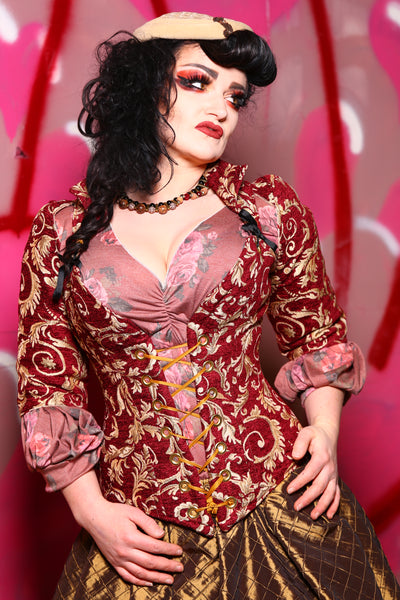 Courtier Corset in Red and Gold Swirl Vine