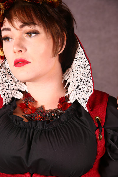 Cropped Villainess Vixen in Solid Red with Black Collar