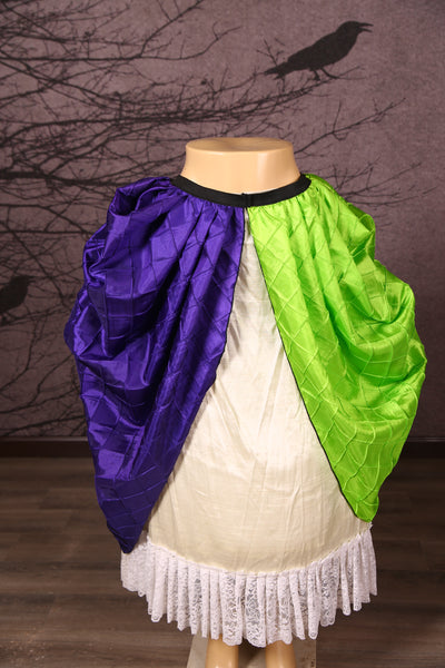 Split Front Overskirt in Lime and Purple