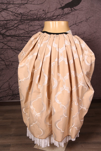 Split Front Overskirt in Cream Elegant Embroidery