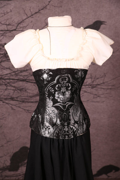 Wench Corset in Black & Silver Medallion