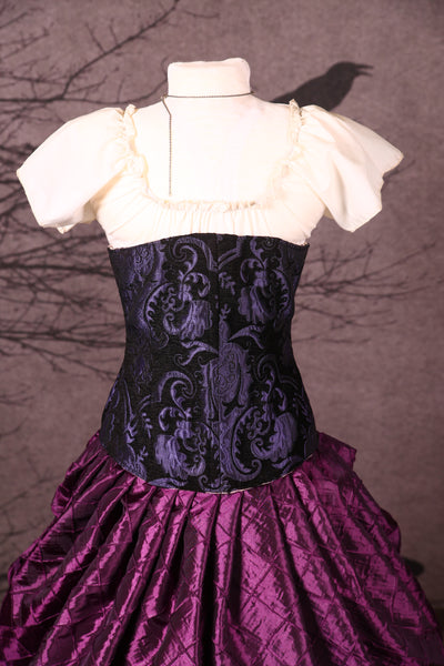 Wench Corset in Purple and Black Medallion