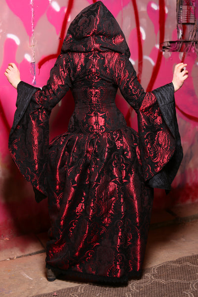 Queenie Overskirt with Pockets in Crimson and Black Medallion