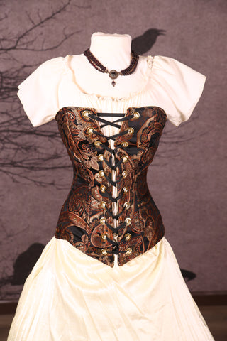 Aurora Corset in Black and Copper Paisley
