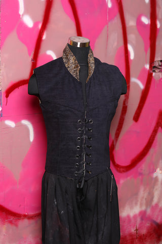Men's Flynn Vest in Black with Mismatched Collar