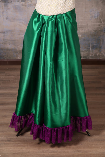 Carousel Skirt Extra-length Emerald Green with Plum Stretch Lace