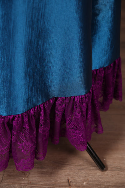 Carousel Skirt Extra-length Royal Shine Blue with Plum Stretch Lace