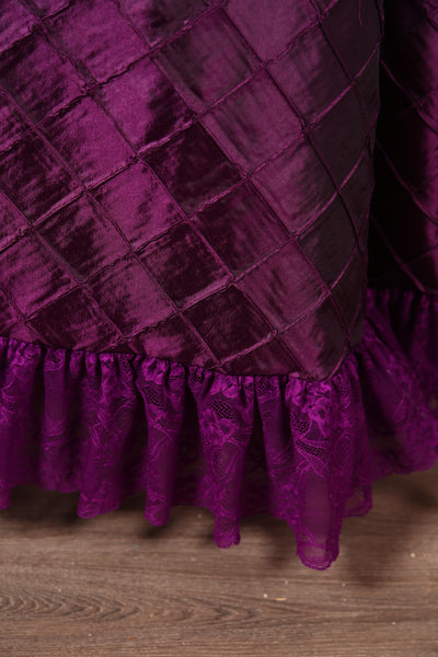Carousel Skirt Extra-length Plum Pintuck with Plum Stretch Lace
