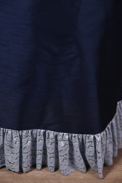 Carousel Skirt Extra-length Navy with Pale Blue Stretch Lace