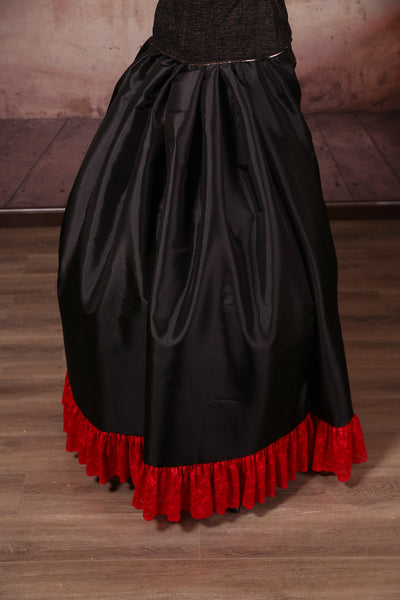 Carousel Skirt Extra-length Black with Red Stretch Lace