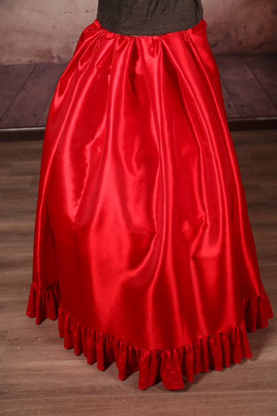 Carousel Skirt Extra-length Shine Red with Red Stretch Lace