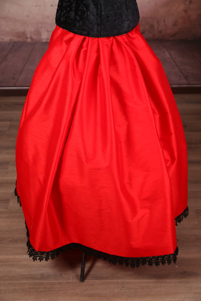 Carousel Skirt - Red with Black Lace