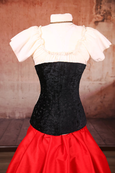 Torian Corset with Lace in Black Brushstroke