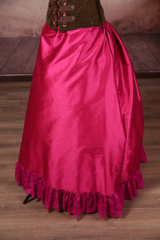 Carousel Skirt Extra-length Fuchsia with Magenta Stretch Lace