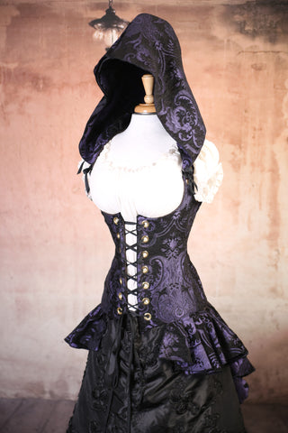 Purple and Black Medallion Hooded Peplum Coat