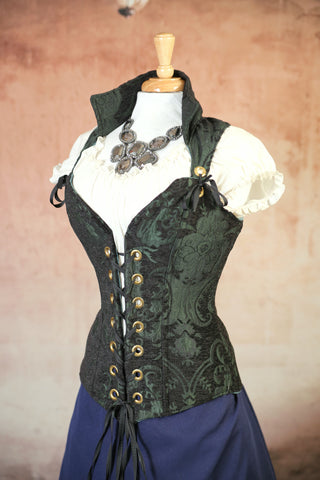 Green and Black Medallion Courtier Corsets