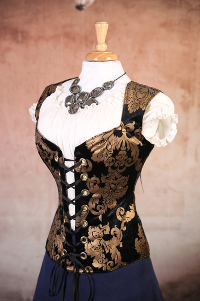 Black and Gold Damask Damsel Corset