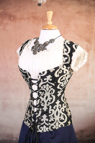 Black and White Jacquard Damsel Corset