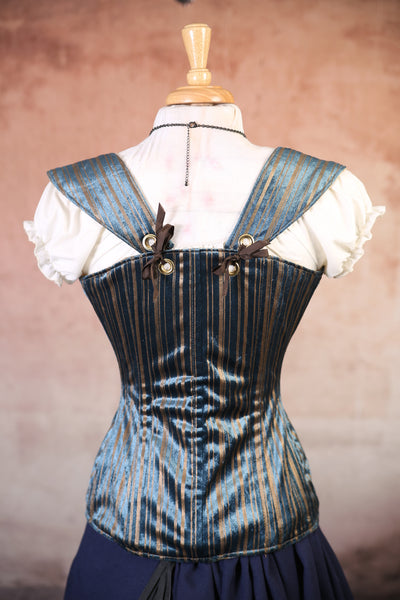 Blue and Gold Stripe Damsel Corset