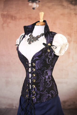 Purple and Black Medallion Courtier Corsets