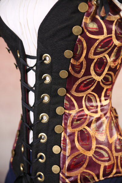 Burgundy and Gold Leaf Faux Leather Wanderlust Corset
