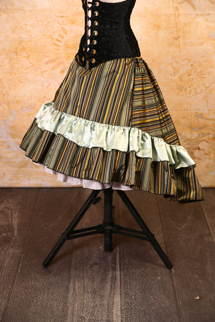 Nautical Stripes with Crushed Gold Ruffle Stagecoach Skirt - RF2