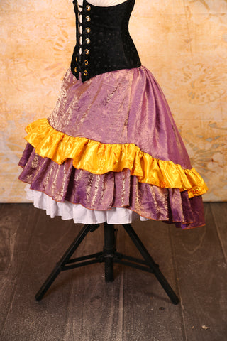 Crushed Lavender with Gold Ribbon Ruffle Stagecoach Skirt - RF2