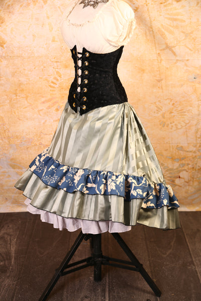 Silver Stripe with Nautical Rose Ruffle Stagecoach Skirt - RF2