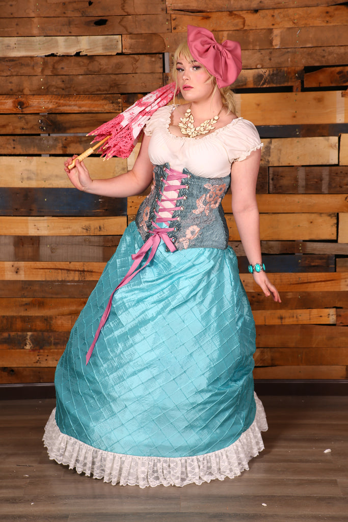 Carousel Skirt -Extra Length- Princess Blue Pintuck Taffeta with Cream Lace
