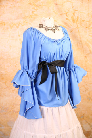 Sky Blue Blouse with Flutter Sleeves