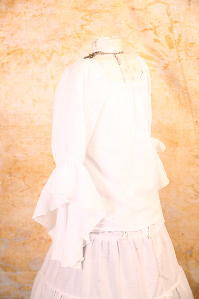 White Sheer Blouse with Flutter Sleeves - RA1