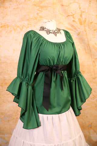 Green Blouse with Flutter Sleeves