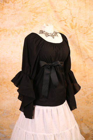 Black Blouse with Flutter Sleeves