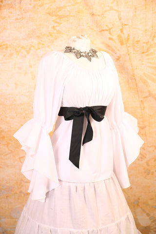 White Blouse with Flutter Sleeves